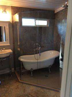 Clawfoot Tub inside of Shower Encl.