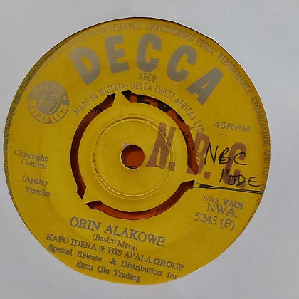 Kafo Idera & His Apala Group - Orin Alakowe [Decca]