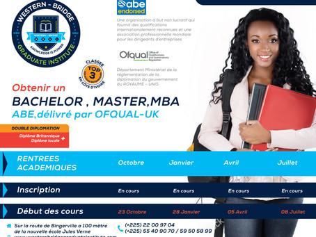 Obtenir un BACHELOR , MASTER, MBA Britannique a WBGI Western Bridge Graduate Institute | Abidjan