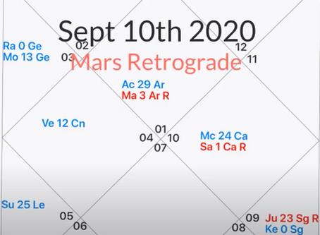 Mars rückläufig vom 10.September bis 04.November 2020
