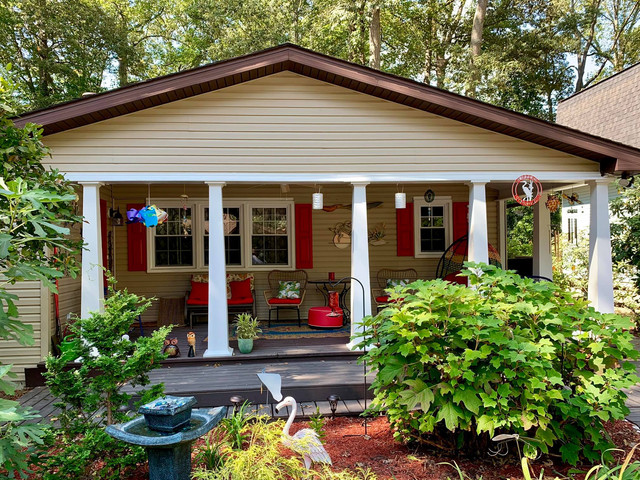 """Great job on the porch and I love my Red shutters.. thanks again for a great job."" -Barbara C."