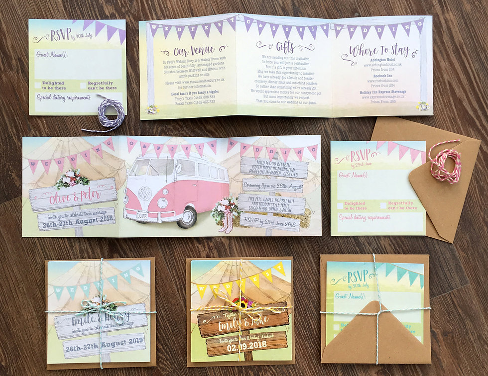 Campervan and rustic wedding invitations