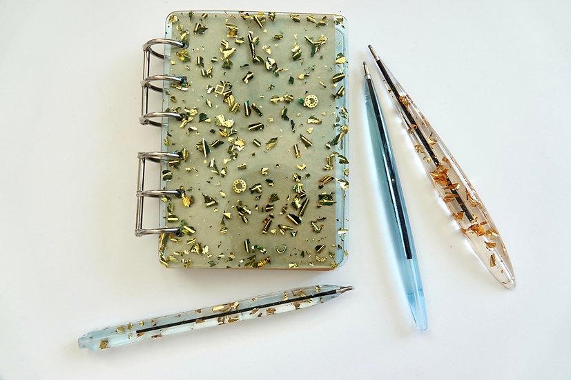 Handmade resin notebook and 1 pen