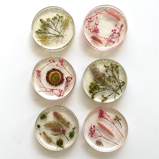Resin coasters with real flowers, set of 6
