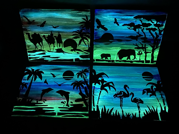 Glow in the dark paintings, 8*10in, variations