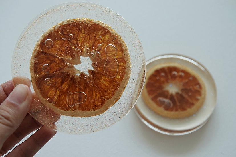 Resin coasters with real orange