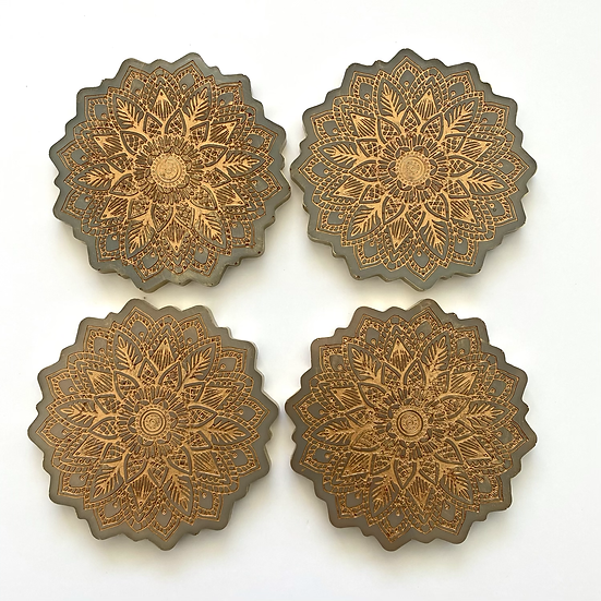 Mandala resin coasters, set of 4