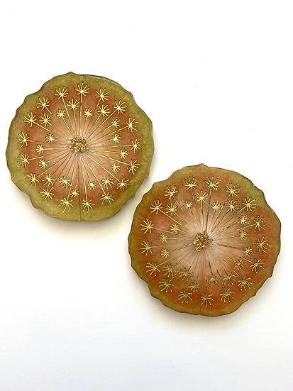 Resin dandelion coasters, set of 2