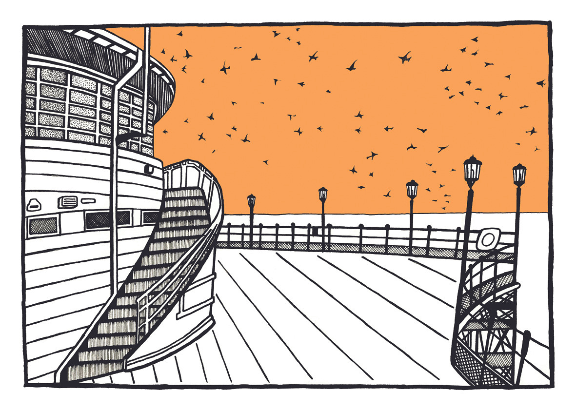 Worthing pier and starlings