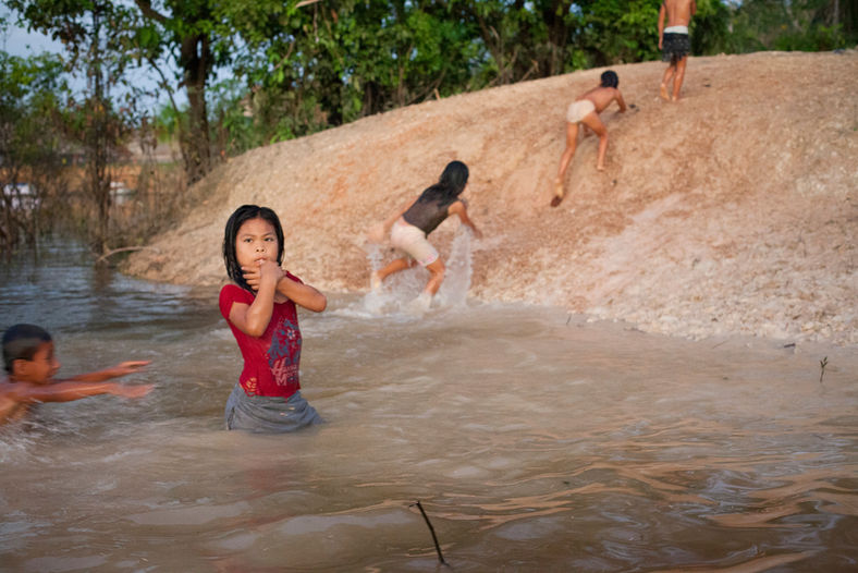 The river serves as a source of life for people. It works as the fishing grounds, playing, bathing area.   Although the river is swimming with predators such as pirana and electric eels, children grow up with a quick awareness to the river and its dangers. As it is a way of life in the jungle, people live in harmony with the River.