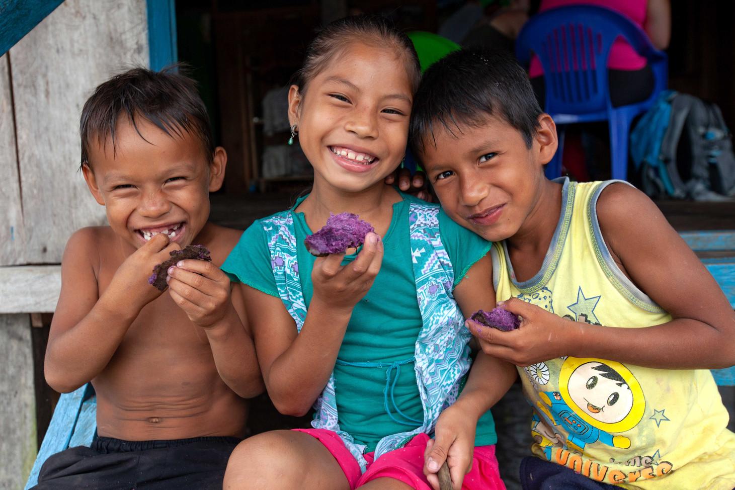 Kids Eat Purple Potatoes as a Snack