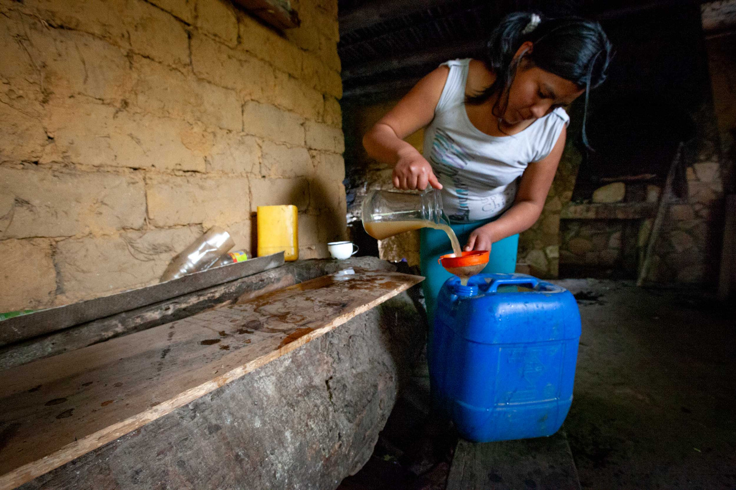 Once ground up, Carlos's sister  finishes up the process of making sugar juice.