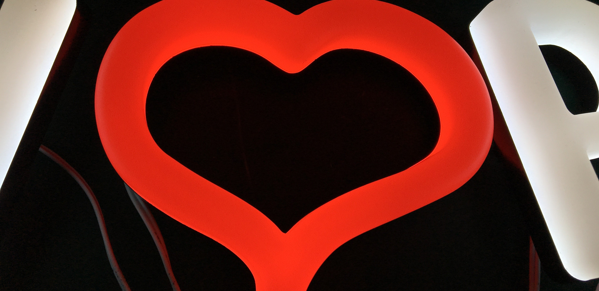 Faux Neon Red Heart