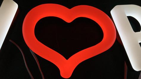 Faux Neon Red Heart
