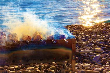 shish kebab on the seashore. barbecue on