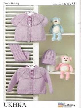 UKHKA  Baby DK Knitting Pattern: 36-51cms