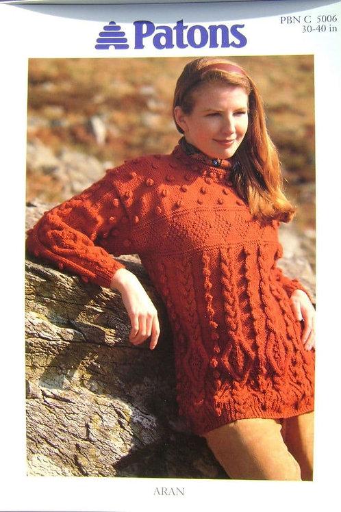 Patons Ladies Sweater Knitting Pattern 5006