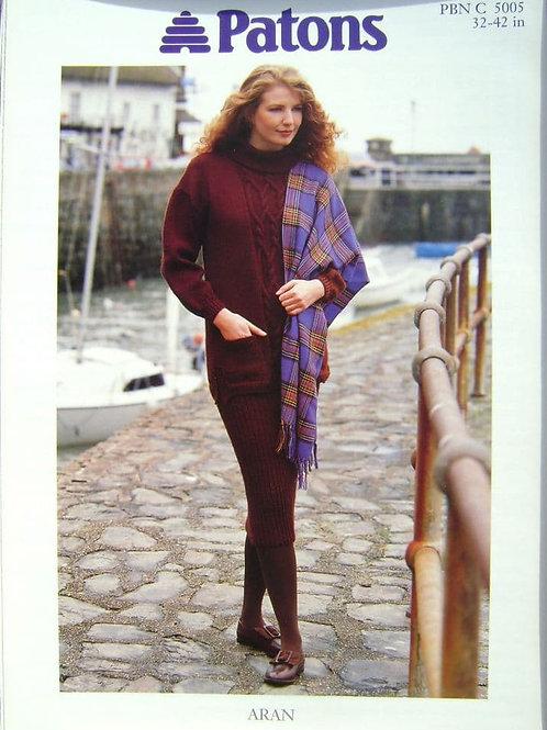 Patons Ladies Tunic & Skirt pattern in Aran