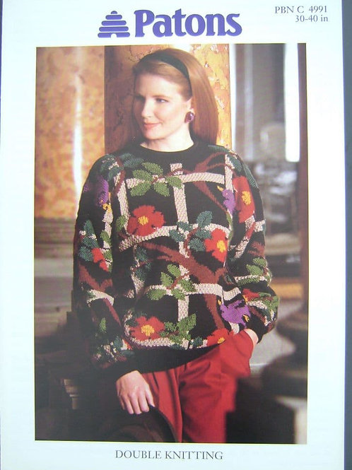 Patons ladies Bird and Trellis Sweater  Knitting Pattern 4991