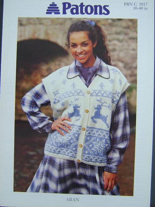 Patons Ladies Waistcoat  Knitting Pattern in Aran 5017
