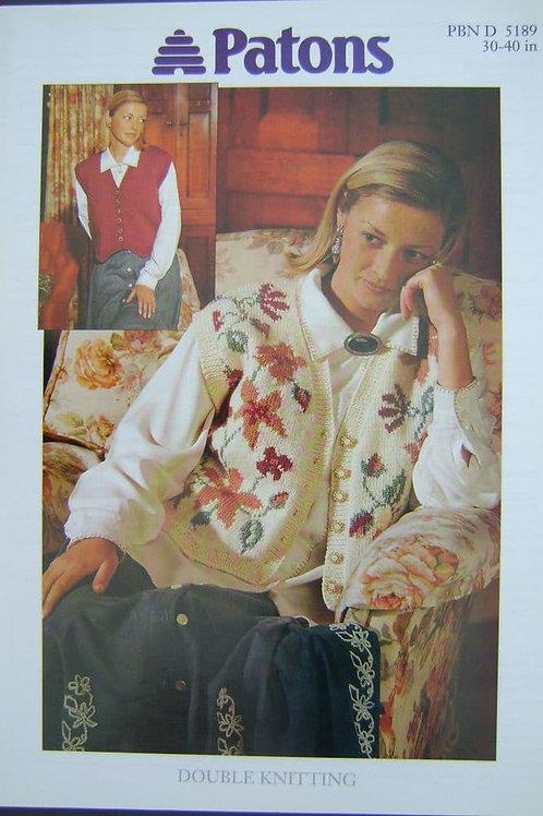 Patons Ladies Waistcoat  Knitting Pattern 5189