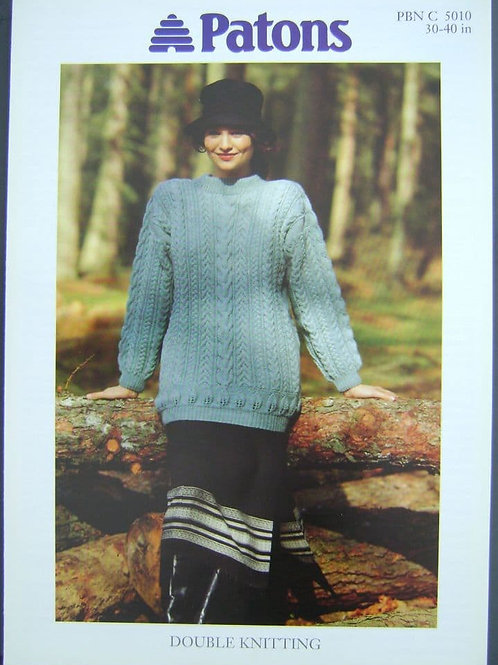 Patons Ladies Cable Tunic  Knitting Pattern in Double Knitting 5010