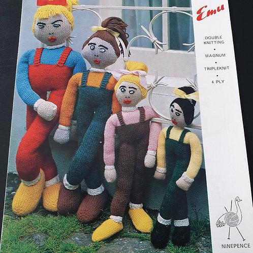 Pre-Loved Emu 8158 Dolls Knitting Patterns
