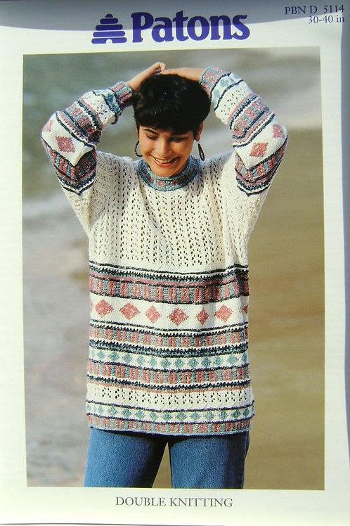 Patons Ladies Tunic  Knitting Pattern 5114