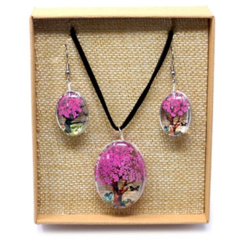 Pressed Flower Necklace and Earring: Bright pink