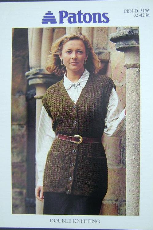 Patons Ladies Waistcoat Knitting Pattern 5196