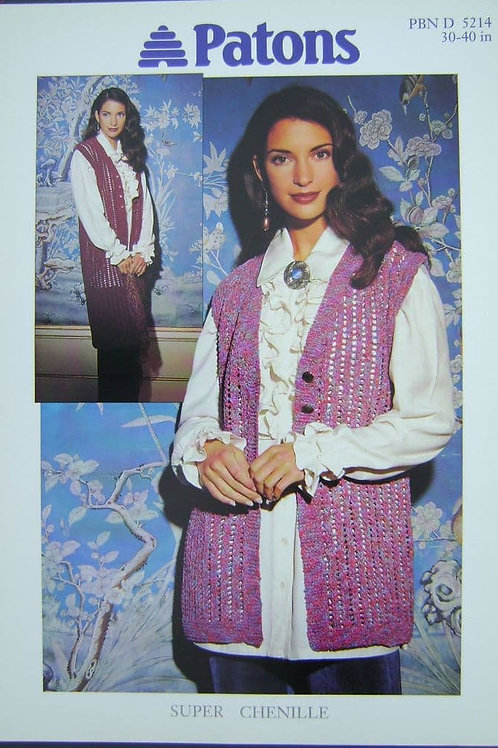 Patons Ladies Waistcoat  Knitting Pattern 5214 in super chenille