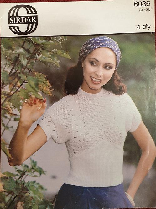 Preloved sirdar ladies lacey top in 4ply