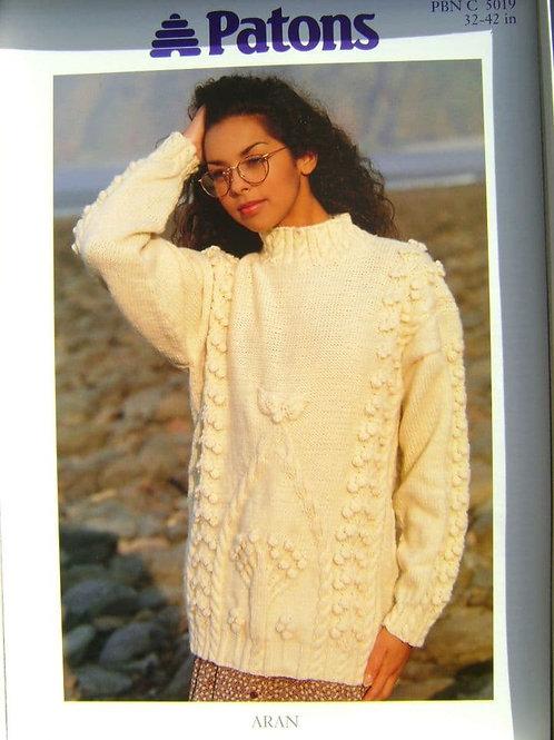 Patons Ladies Tree & Bobble Sweater in Aran