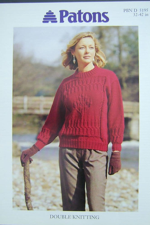 Patons Ladies Sweater d.k. Knitting Pattern 5195