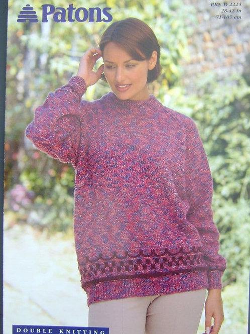 Patons Ladies Sweater  Knitting Pattern in D.K. 2224