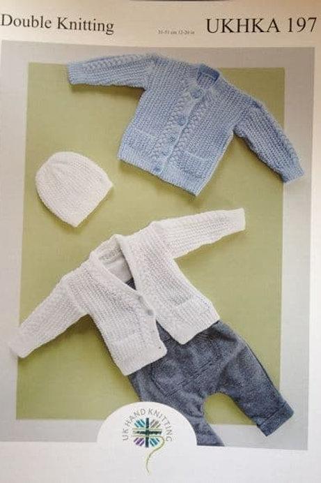 UKHKA DK Knitting Pattern:  Cardigans and Hat