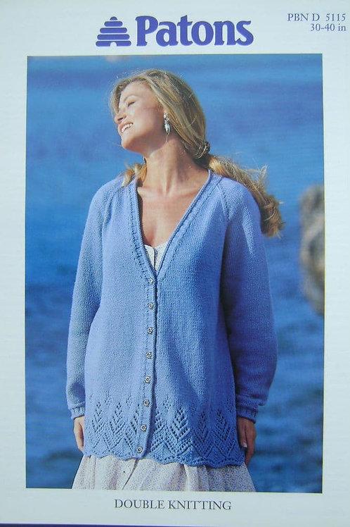 Patons  Ladies Long cardigan Knitting Pattern 5115
