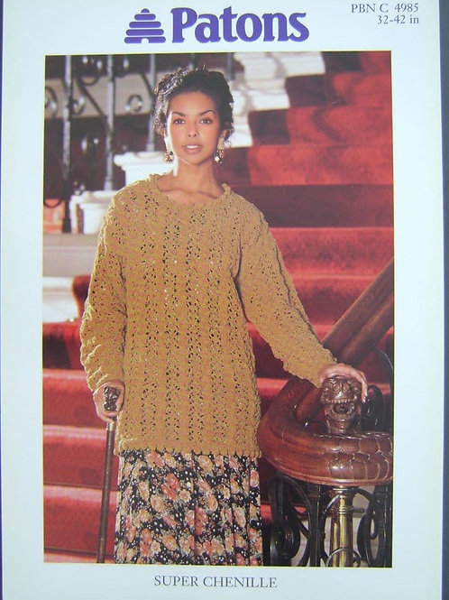 Patons Ladies Super Chenille  Knitting Pattern 4985