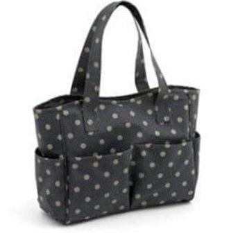 Craft Bag: Matt PVC: Polka Dot in Charcoal