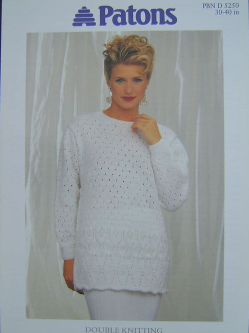 Patons Ladies tunic Knitting Pattern in double knit 5250