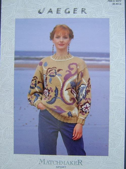 Patons Ladies Motif Sweater Knitting Pattern in Aran  5077