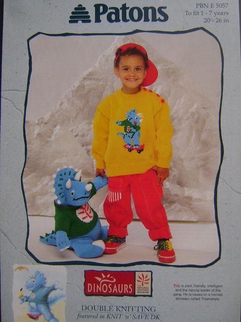 Dinosaur Sweater & Toy Knitting Pattern  5057;