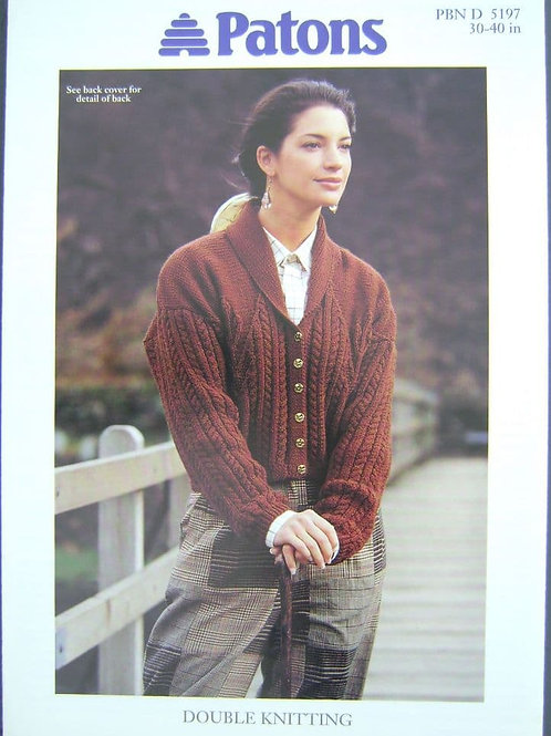 Patons Ladies Cable and Leaf Jacket Knitting Pattern 5197