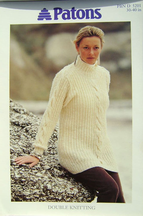 Patons Ladies Cable Panel Sweater Knitting Pattern 5201