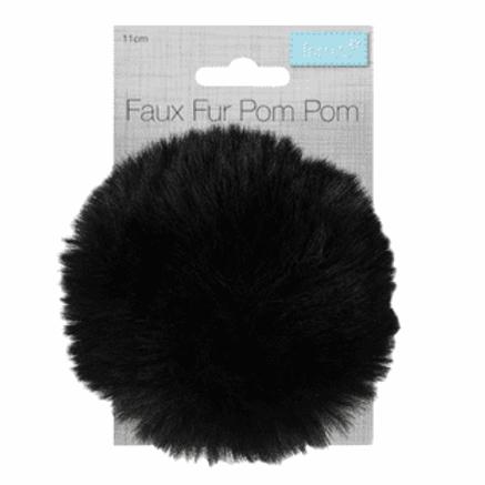 Pom-Pom Faux Fur 11cm: Black