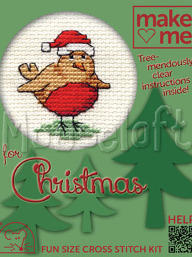 MAKE ME FOR CHRISTMAS:  Cross Stitch Kit: Robin