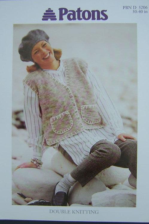Patons Ladies Waistcoat  Knitting Pattern 5206