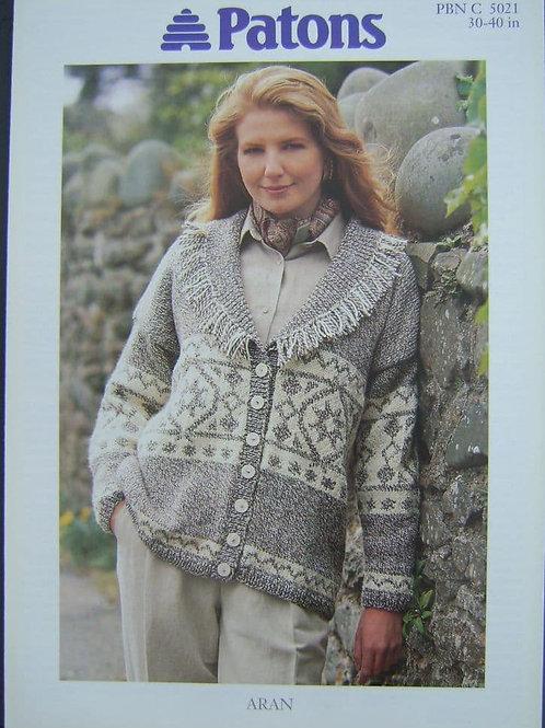 Patons Ladies Shawl Collar Jacket Knitting Pattern in Aran 5021