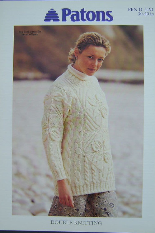 Patons  Ladies Leaf and Cable Knitting Pattern 5191