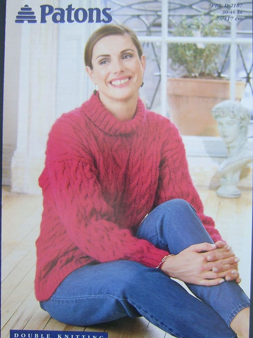 Patons Ladies Cabled Sweater D.K. Knitting Pattern 2187